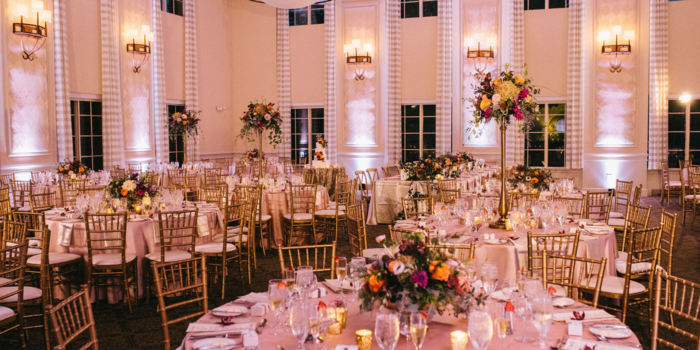View of a wedding reception area at The Glen Club